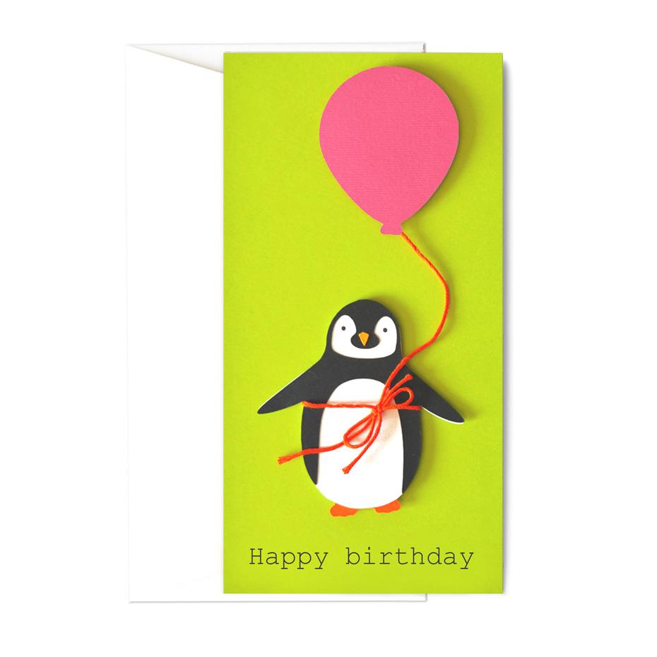 Biglietto - Pinguino pink balloon