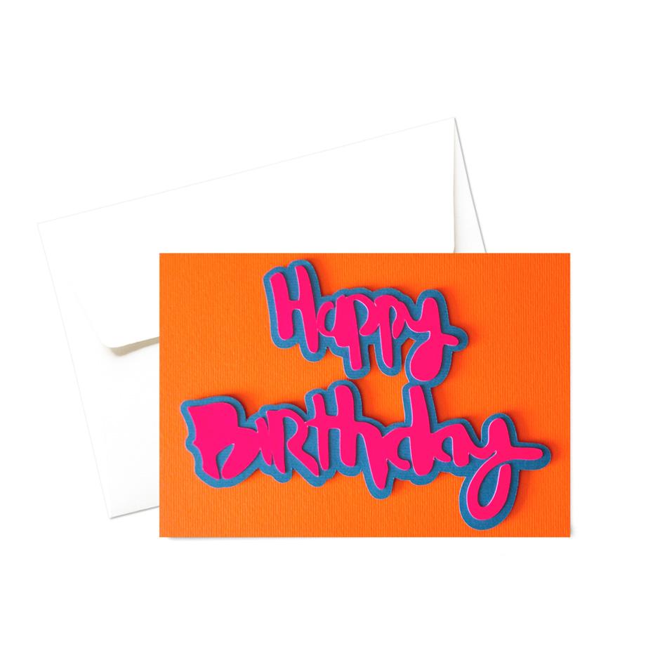 Biglietto - Happy birthday fluo
