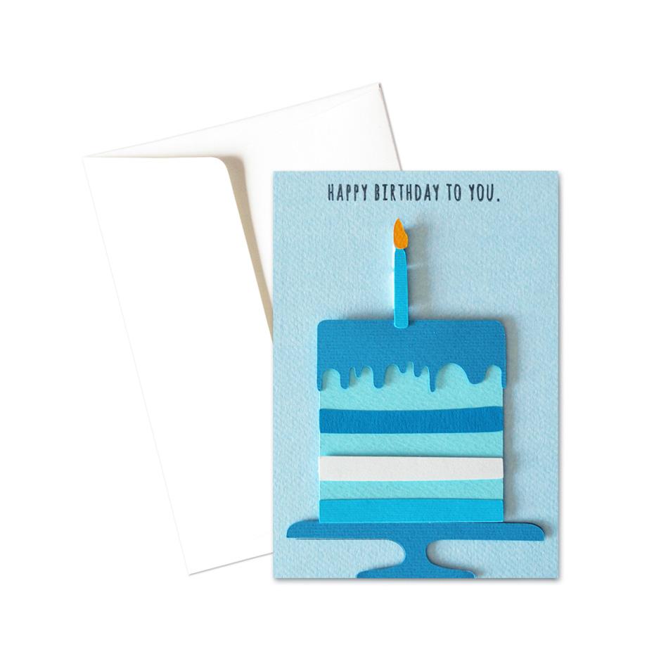 Biglietto - Torta con candelina azzurra