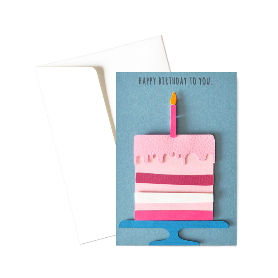 Biglietto - Torta con candelina rosa